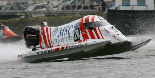 The international team of women will pilot this Moore hull-tunnel boat in the world's toughest powerboat race.