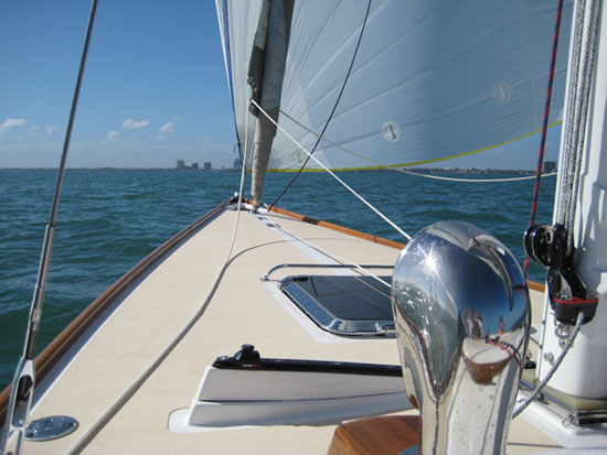Morris 29 bow under sail Biscayne Bay