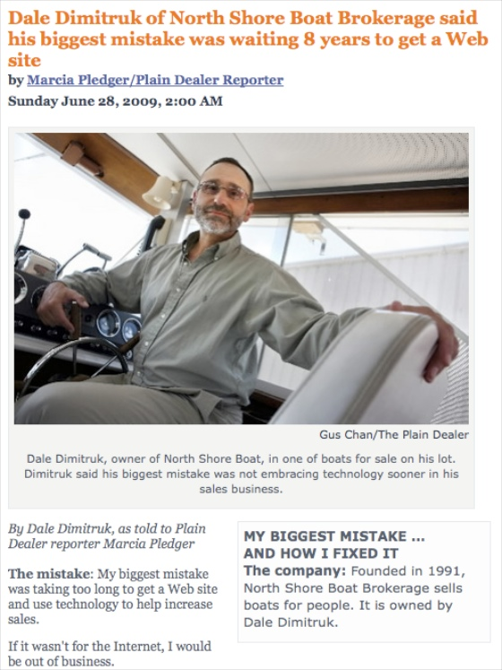 This news piece out of Cleveland tells how one boat broker is making it work.