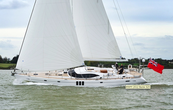 The Oyster 625, winner of the Luxury Cruiser award.