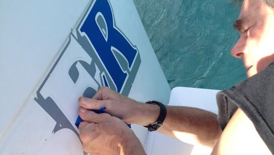 peeling vinyl boat letter