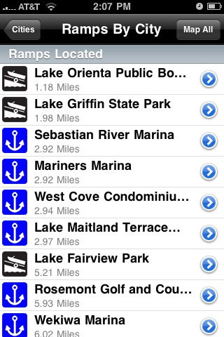 Boat Ramps displays a list of launch ramps and marina within the selected radius of a location (left) and pinpoints those locations on the iPhone Maps application (right).