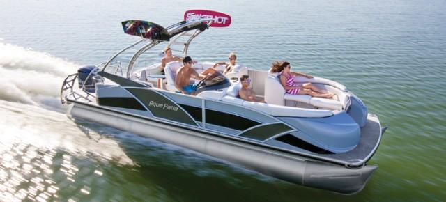 Edgy and ultra-modern, the Aqua Patio 250 XP pontoon.
