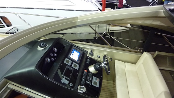 Another view of the helm station; note joystick control for docking with Volvo IPS drives.