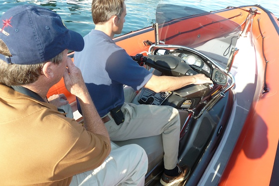 Andrew at the steering station of the Yamaha Waverunner, which has a four-cylinder, four-stroke engine with electronic fuel injection.