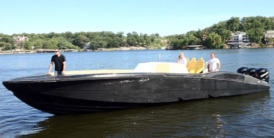 The first V-bottom from MTI, on the water for validation testing at Lake of the Ozarks.