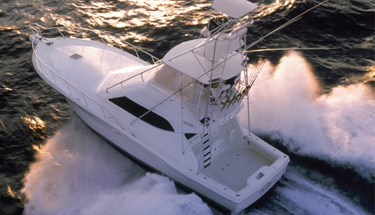The Rampage 45 is the biggest fishing boat in this company's line.