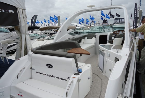 The cockpit of Rinker's new 290 Express Cruiser is all about traffic flow and crew comfort.
