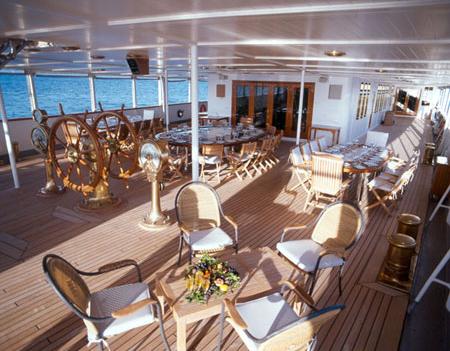On deck, al fresco dining is an option.