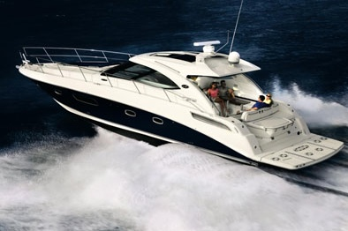 "The 43 Sundancer by Sea Ray, winner of a Motorboating magazine ""Best Bet"" award."