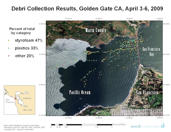A map of debris flowing out of San Francisco Bay on the ebb tide