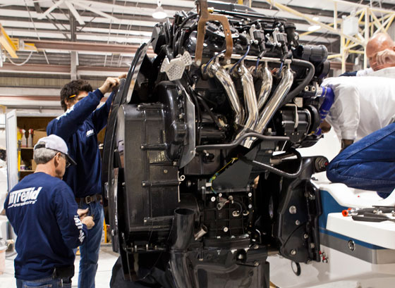 The Seven Marine team mounts 557 motors on the Intrepid 370 Cuddy.
