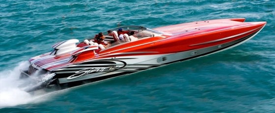 A 180-plus-mph Skater 388 catamaran, Pure Platinum is just one of the boats under the care of Brand X Hi-Performance.