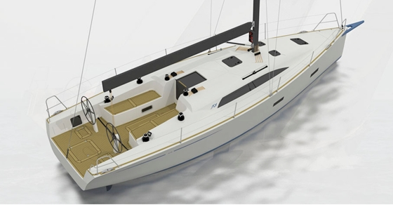 The Sly 38 has a large, open cockpit, a long cabin trunk, and a fixed bowsprit.