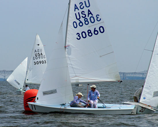Carol Cronin (right) and Kim Couranz round a mark