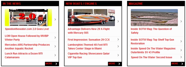 The redesigned site features content modules that contain the latest stories under their headlines.