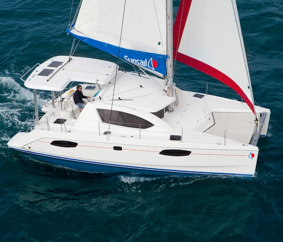 The new Sunsail 384 offers entry-level ease of handling and berths to sleep four couples.