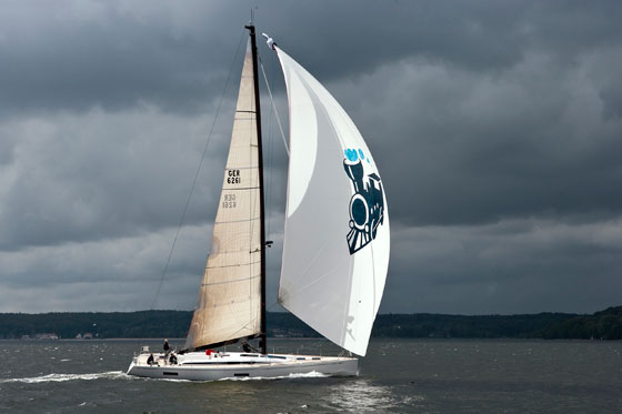 The assymetrical spinnaker has more area than the previous Swan 601.