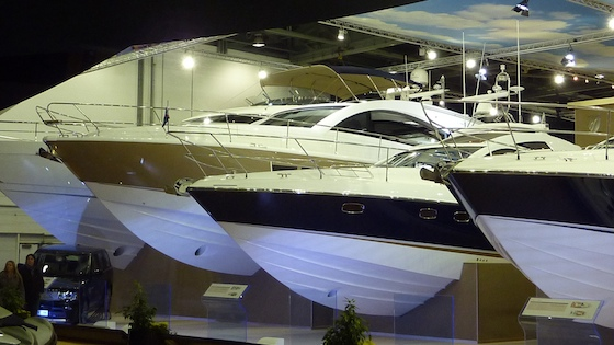 The new Targa 58 Grand Turismo (gold hull) lines up with other models by Fairline at the London International Boat Show.