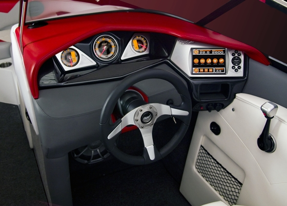 Tigé's Touch display is mounted conveniently to the right of the helm, by the driver's throttle hand.