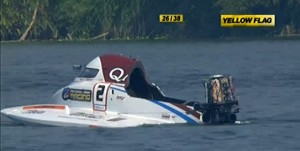 Though Torrente was uninjured during his crash at the Grand Prix of China, his boat sustained significant damage.