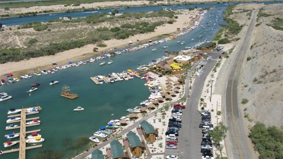 Though it's most fun to access via the Colorado River, Pirate Cove Resort and Marina can also be reached by land.