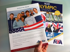 The U.S. sailing team is featured in the back-cover ad of a British-focused Olympics brochure.