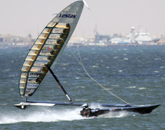 Vestas Sailrocket on Walvis Bay, Namibia