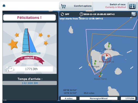 My finish-line screen at the end of the Transatlantic with VirtualRegatta.com