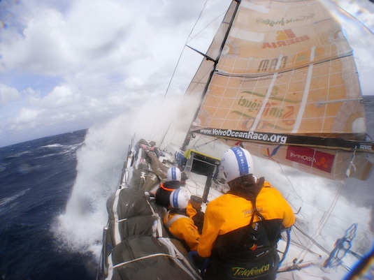 It's helmets-on weather aboard Ericcson 3, the lead Volvo racer, headed for Cape Horn. Photo by Gabriele Olivo/Telefonica Blue/Volvo Ocean Race