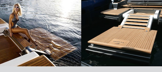 The Wallypower stern platform deploys for boarding, swimming, or sunbathing.