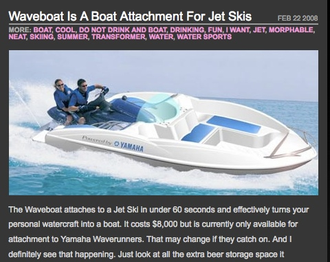 Add a boat to your Jetski and take some passengers along.