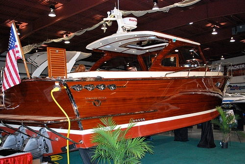 The cold-molded, heavily varnished WindsorCraft 36 reportedly does 32 knots.